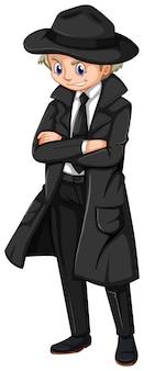 Male detective in black overcoat