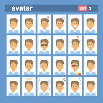 Male different emotion set profile avatar, man cartoon portrait face collection