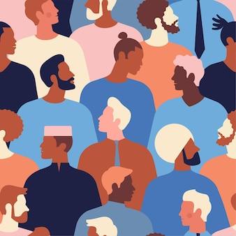 Разнообразные мужские лица разных национальностей бесшовные модели