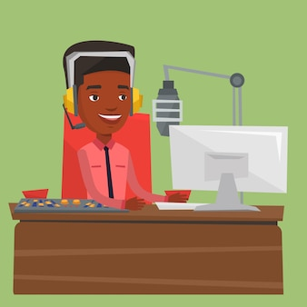 Мужской ди-джей работает на радио иллюстрации