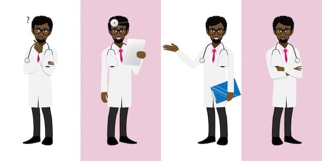 Male doctor cartoon character set