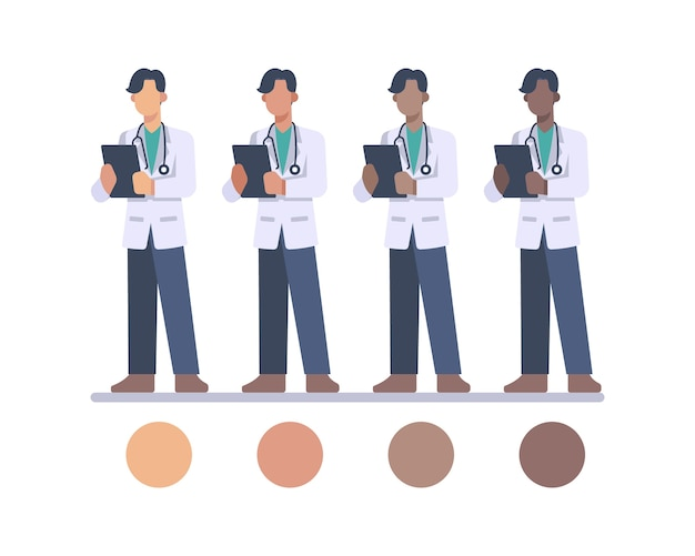 Male doctor character with stethoscope