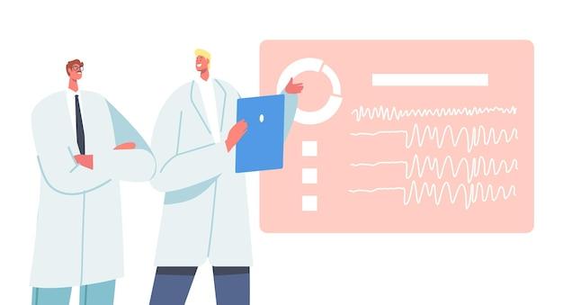 남성 의사 캐릭터는 디스플레이에서 뇌 뇌파 검사를 배웁니다. 뇌질환의 해부학적 지식과학