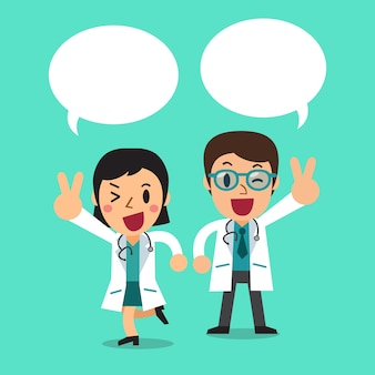 Male doctor and female doctor with speech bubbles