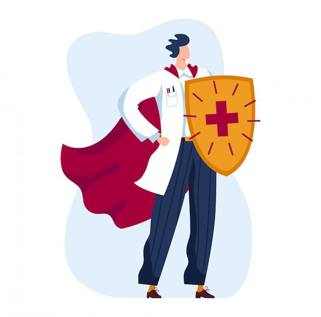 Мужской доктор, будущая медицина, поможет защитить пациента в изоляции