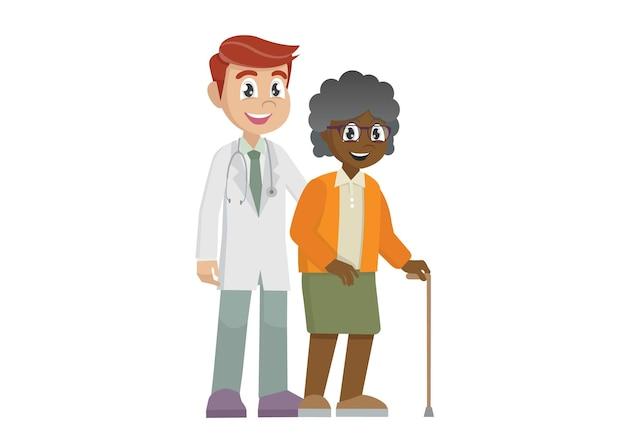 지팡이로 할머니를 돕는 남자 의사
