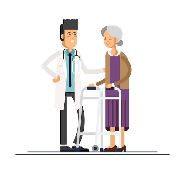 男性医師は祖母が歩行者に行くのを手伝います。高齢者の世話