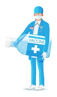 Male doctor holds large ampoule with vaccine. cartoon doctor holding big bottle isolated on white.
