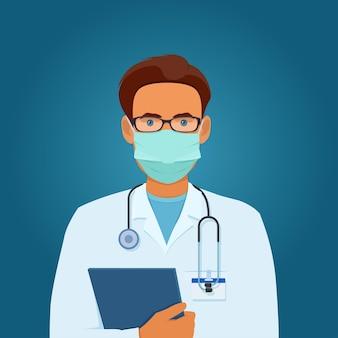 彼の手でフォルダーを保持している聴診器と医療マスクと眼鏡の男性医師