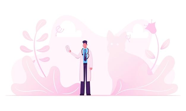 Врач-мужчина в белом медицинском халате со стетоскопом на шее, держа в руке волдырь таблеток. мультфильм плоский рисунок