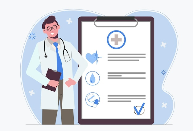 Male doctor. medical insurance. doctor's appointment. examination and medical form.