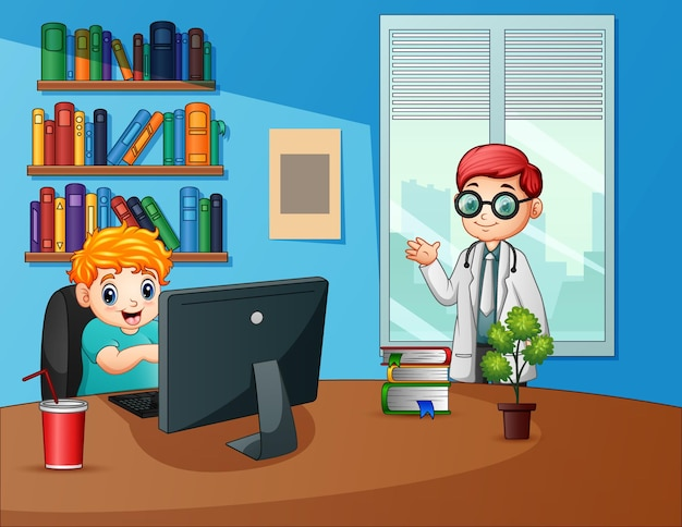 A male doctor in the office illustration