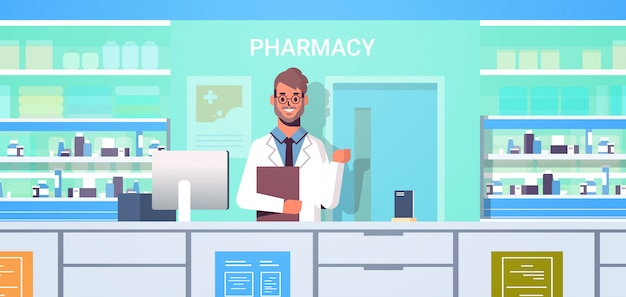 Male doctor pharmacist with clipboard standing at pharmacy counter modern drugstore interior medicine healthcare concept horizontal portrait