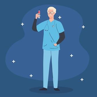 注射器で男性医師の専門家。