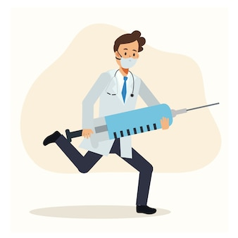 Male doctor running and holding syringe of vaccine.