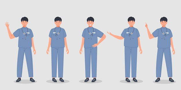 Male doctor set in different pose group of medical professional workers in sanitary uniform