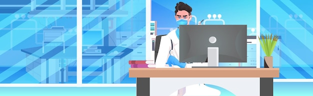 컴퓨터 모니터 온라인 통신을 사용하여 마스크 직장 의료 전문가에 앉아 남성 의사