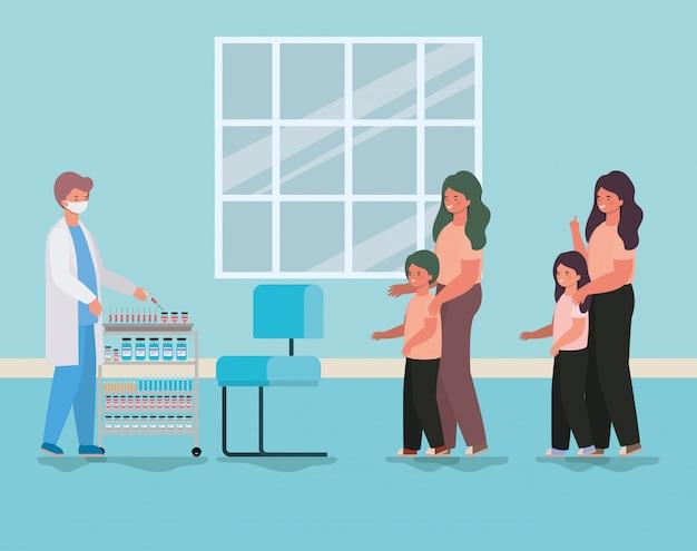 男性医師の男の子と女の子の母親と医療健康と緊急テーマイラストのデザインの予防接種