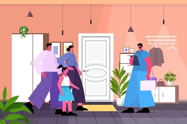 Male doctor vaccinating family patients fight against coronavirus vaccine development concept living room interior horizontal full length vector illustration