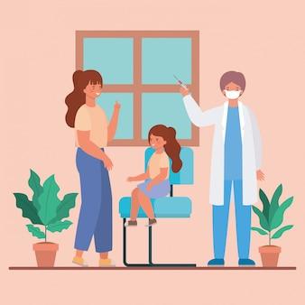 男性医師の予防接種の女の子と母親の医療健康と緊急テーマイラストのデザイン