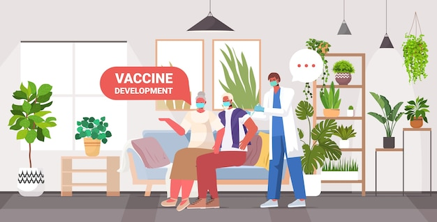 Male doctor vaccinating senior patients in masks to fight against coronavirus vaccine development concept full length horizontal  illustration