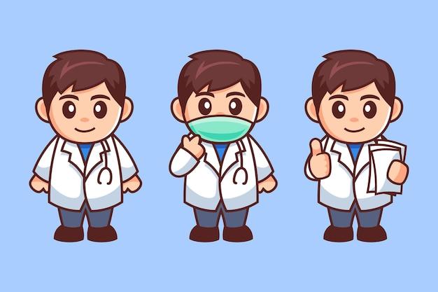남성 의사 의료 마스크 만화 캐릭터 착용