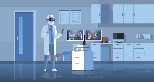 Male doctor wearing digital glasses examining virtual reality heart and brain