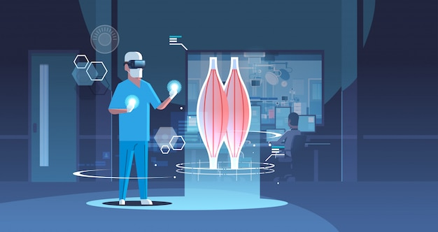 Male doctor wearing digital glasses looking virtual reality muscle human organ anatomy healthcare