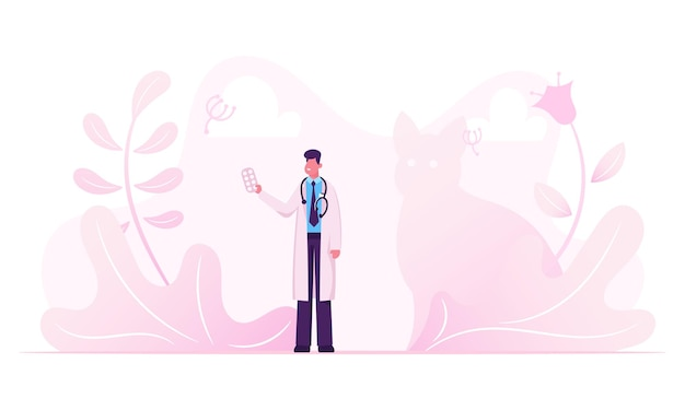 Male doctor in white medical robe with stethoscope on neck holding pills blister in hand. cartoon flat  illustration