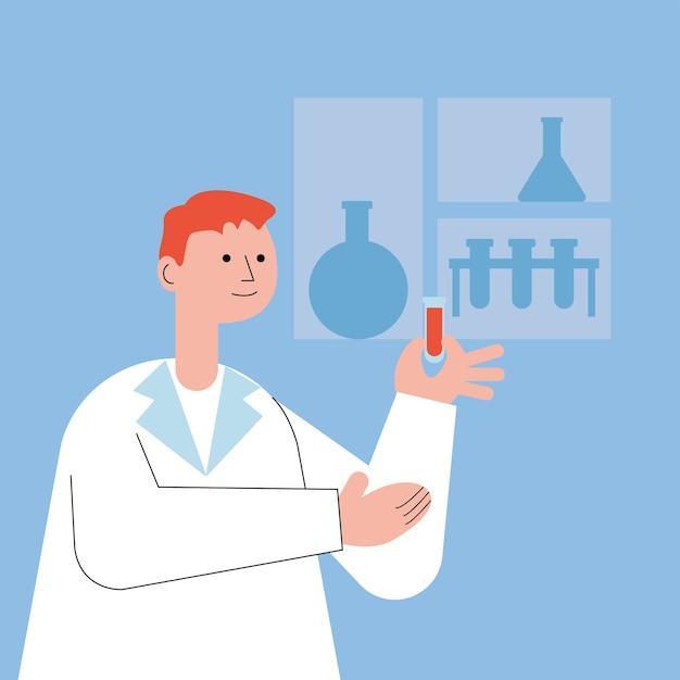 튜브 테스트 일러스트 디자인에 혈액을 가진 남성 의사