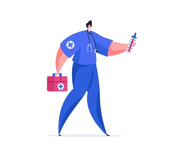 Мужской доктор с медицинской коробкой и термометром