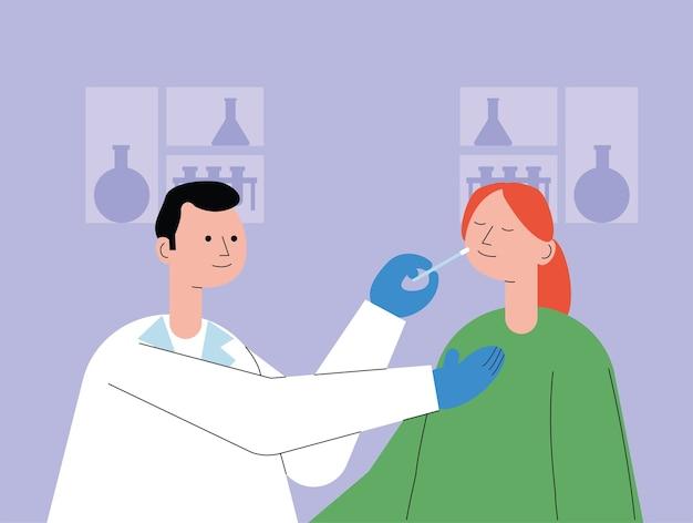환자 복용 covid19 테스트 일러스트 디자인과 남성 의사