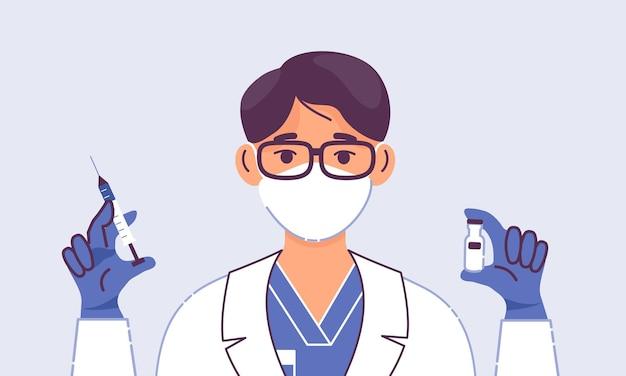 Врач-мужчина со шприцем и вакциной, изолированные на синем фоне