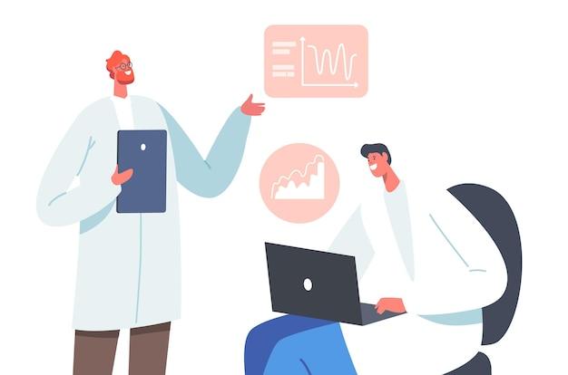 노트북과 태블릿으로 작업하는 흰색 의료 가운을 입은 남성 의사들은 질병 증상이 있는 인간 두뇌의 신경 뇌파 검사 차트를 학습합니다. 질병 개념입니다. 만화 벡터 일러스트 레이 션