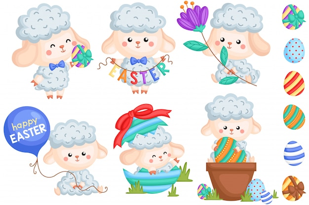 Male easter sheep vector set
