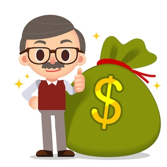 Male elder character standing by side giant money bag