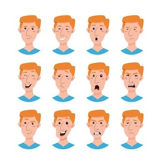 Коллекция мужских персонажей мультфильмов emoji. набор аватаров молодых людей эмоции плоский стиль.