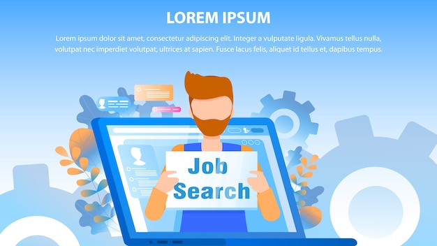 Male employee job search sign computer screen