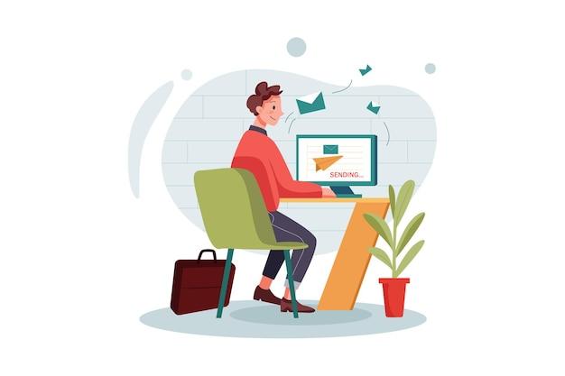 마케팅 메일을 보내는 남성 직원