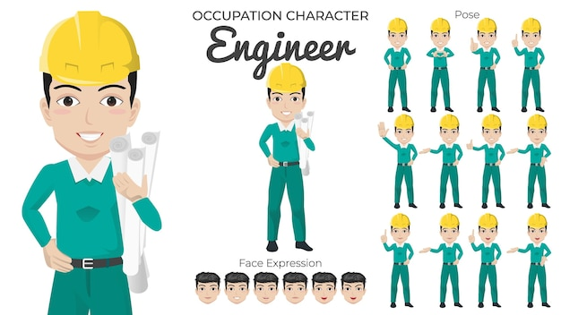 Male engineer character set with variety of pose and face expression