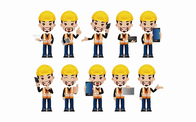 Male engineer with different poses