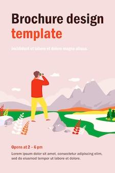 Мужчина-исследователь стоит на скале, глядя на горы в бинокль. человек наслаждается природой и пешим туризмом, ищет новые возможности. иллюстрация для путешествий, активного образа жизни, концепции цели