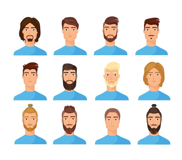 Male faces flat illustrations set. cartoon men characters pack. trendy appearance changing concept. people portraits, cliparts collection on white background isolated drawing.