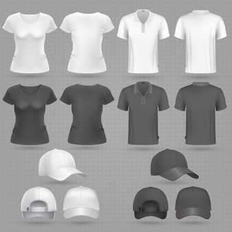 Male and famale black white t-shirt and baseball cap vector 3d