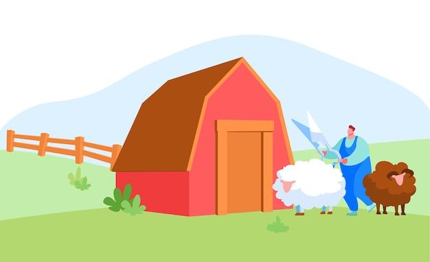木製の納屋の近くの羊毛のための男性の農夫のせん断羊