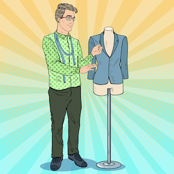 마네킹으로 직장에서 남성 패션 디자이너