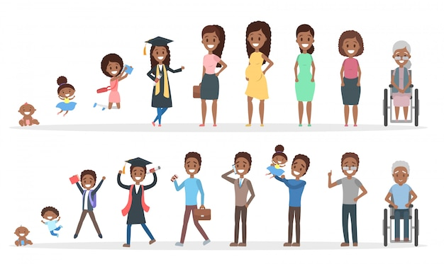Male and female african american character generation set. human in different ages from baby to old person. from young to elderly. life cycle.    illustration