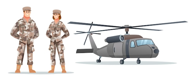 Male and female army soldier characters with military helicopter
