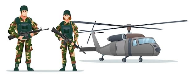 Male and female army soldiers holding weapon guns with military helicopter cartoon illustration