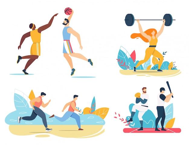 Male female athlete exercising playing games set